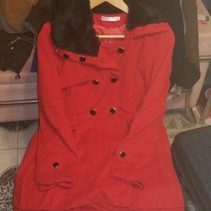 Jackets & Blazers - Red Lined Juniors Swing Jacket Sz L NEW